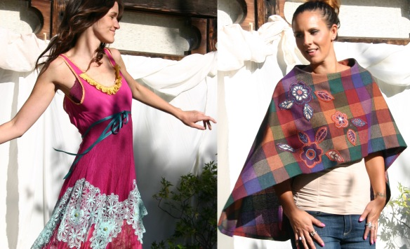 (l) Hand-dyed slip dress embellished with thrift store lace and trim by Melinda Forbes. (r) Skirt transformed into a poncho with original hand stitched appliqués
