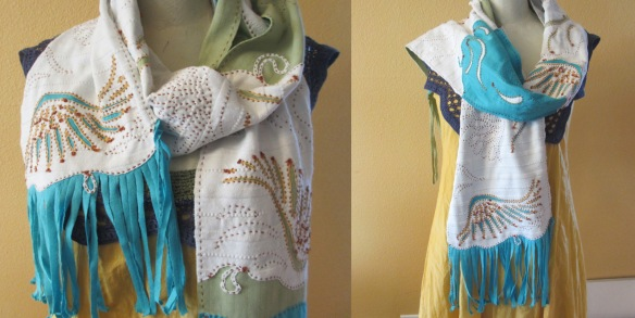 You will never believe that this unique scarf began as three knit golf shirts. It features reverse applique, hand embroidery and fabric pens. Maker: Mary Wood