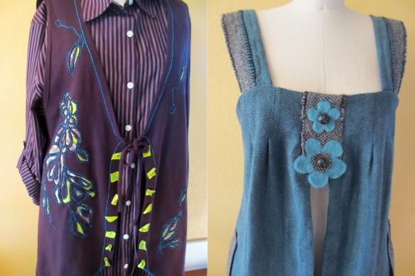 (left) Maroon Vest with a shirt-blouse, reverse applique and embroidered detail of flowers and leaves.(right) Wool jumper with felted flowers and detail blanket stitched. Maker: Meg Johnson